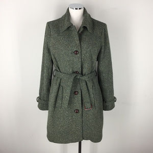VTG LL Bean Womens M Green Tweed Fleck Long coat